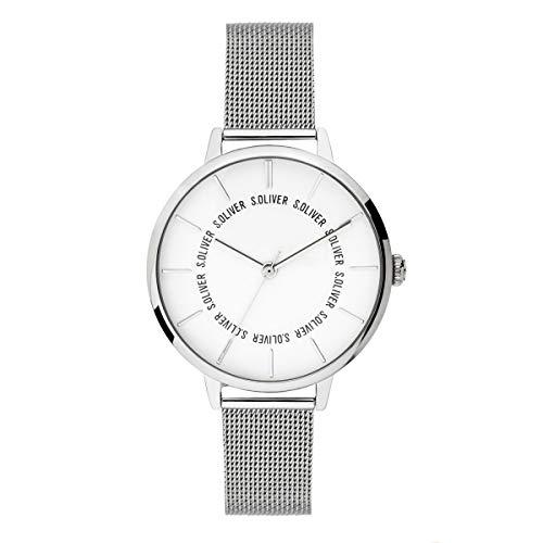s.Oliver Damen Analog Quarz Uhr mit massives Edelstahl Armband SO-3696-MQ