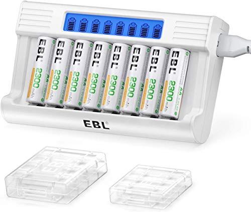 EBL Caricabatterie Indipendenti con LED Display, Caricatore con 5V 2A Funzione di Ricarica Rapida, Confezione con 8 pcs AA Batterie Ricaricabili