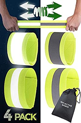 Reflective Bands for Arm, Wrist, Ankle and Leg - Night Reflective Gear for Runners