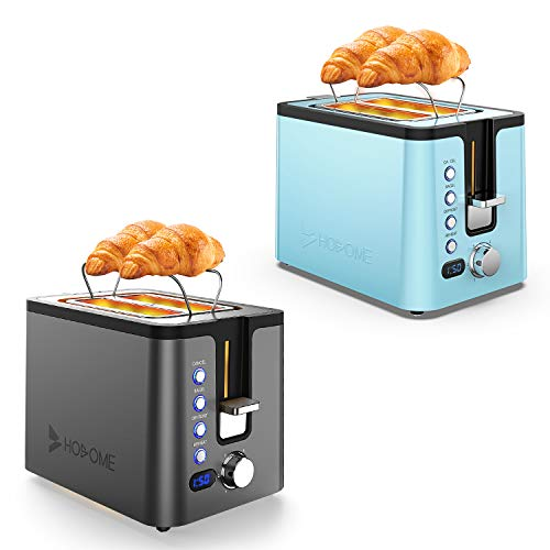 Hosome Toaster 2 Slice, Stainless Steel Bread Bagel Toaster Extra Wide Slot Toasters with Warming Rack, Black+Blue