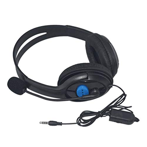 Yogatada Cuffie da Gioco cablate Cuffie Stereo Basse con Microfono per Sony PS3 PS4 Nero
