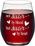 Wine Glass Friend Gifts 15oz Stemless Crystal Wine Glass for Women Sister Birthday