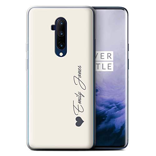 Stuff4 Personalisiert Persönlich Pastell Töne Gel/TPU Hülle für OnePlus 7T Pro/Elfenbein Herz Design/Initiale/Name/Text Schutzhülle/Hülle/Etui
