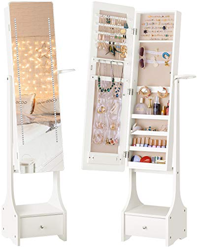 LUXFURNI LED Light Jewelry Cabinet Standing full Screen Mirror Makeup Lockable Armoire, Large Cosmetic Storage Organizer w/drawer white