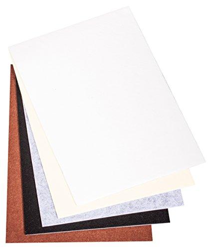 Rayher 53939000 Selbstklebender Bastelfilz, 5 Blätter á 20 x 30 x 0,1 cm, weiß/braun/schwarz/grau