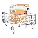 mDesign Guardallaves con cesta metálica – Versátil llavero de pared en metal para el recibidor, la cocina o la...