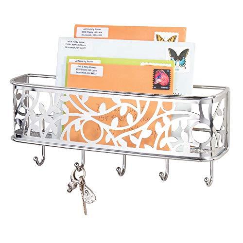 mDesign Schlüsselbrett mit Ablage - vielseitiges, wandmontiertes Schlüsselboard aus Metall für Eingangsbereich, Küche und Büro - mit Briefablage für Post - silber