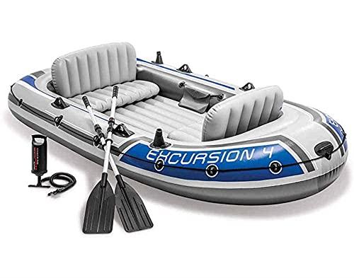YQCH Kayak Inflable, Barco Plegable de 4 Personas, con Bomba de Aire de Aluminio, Barco de Asalto Unisex, aplicar a Rafting de Pesca (Color : 4 People)