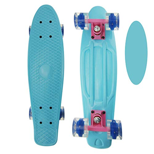 "FGKING Skateboard Complete Standard Skateboards, Mini Cruiser Retro Skateboard Skateboard 22"" Classic Plastic Skateboard with Colorful LED Light Up Wheels for Beginners Girls Boys Kids Teens,Blue"