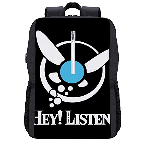 Legend of Zelda Navi Hey Listen Rucksack Daypack Bookbag Laptop Schultasche mit USB-Ladeanschluss