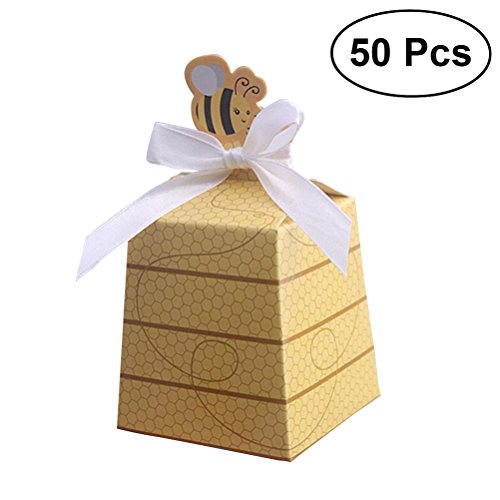 NUOLUX 50Pcs Paper Party Boxes Cute Beehive Bowknot Candy Boxes Gift Bags for Baby Shower Birthday Decorations