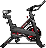 Olz Vélos d'appartement, Vélos de vélo d'intérieur Professionnels, Équipement de Sport Stationnaire avec Fonction de fréquence Cardiaque, Silencieux, Vélo de Fitness 180 Kg Disponible, Noir,Rouge