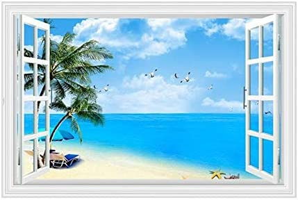 Mendom Fake Windows Wall Sticker Removable 3D Beach Seascape Faux Windows Wall Decals for Bedroom product image