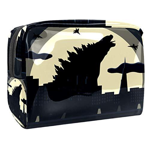 Draagbare make-up tas met rits reizen toilettas voor vrouwen handige opslag cosmetische zakje vliegtuig wolf