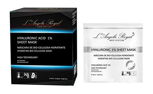 L'Angela Royal Mascarilla Hidratante Intensa Hyaluronic Acid 1% Flash Sheet Mask, Mascarilla facial BIO- Celulosa, Ácido Hialurónico, Efecto Inmediato, Regeneradora, para la cara. 5 uds.