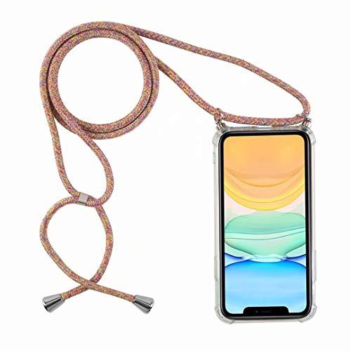 Bigcousin Funda con Cuerda Compatible con Samsung Galaxy A20E,Ultrafina Suave Transparente TPU con Ajustable Collar Cadena Cordón,Arcoiris Amarillo