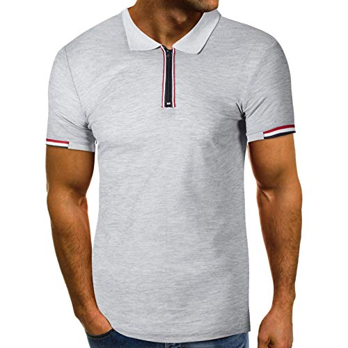 Men's Polo Shirt Short Sleeve Polo Tee Casual Zip Lapel Slim Fit Basic Golf Tees Sport Polo T-Shirts Top Blouse