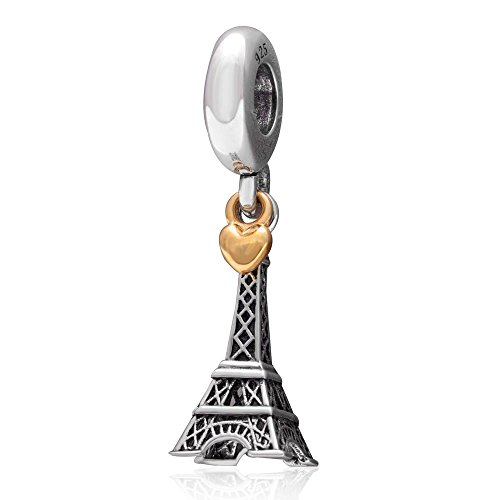 SoulBeads Eiffel Tower Antique 925 Sterling Silver and 18K Gold Heart Dangling Charm Compatible with Snake Chain Bracelets by Fits Pandora charms bracelet
