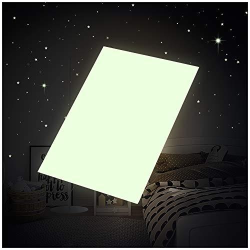 Leuchtfolie DIN A4 Selbstgestalten starke Leuchtkraft im Dunkeln Wandsticker Aufkleber selbstklebend fluoreszierend nachtleuchtend (K012 DIN A4 Bogen)