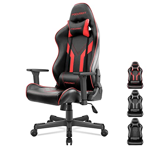 Focuseat Gaming Chair Ergonomic Office Chair with Headrest and Lumbar Support, 3D Soft Arm Rest, PU Leather, Adjustable Height Swivel Computer Chairs with Seat Lock, Large PC Chair for Adult