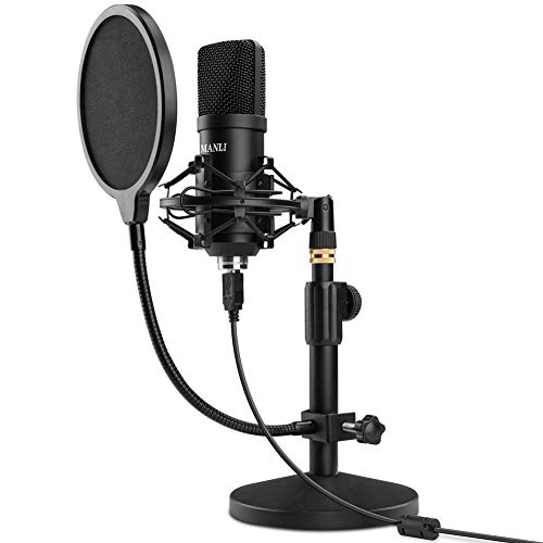 USB Microphone Kit, Manli 192KHZ/24Bit PC Podcast Condenser Streaming Cardioid Mic, Plug & Play Microphones for Computer, YouTube, Singing, Gaming Recording