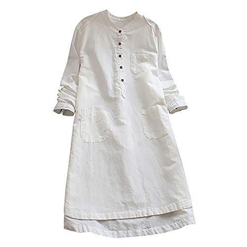 Maternity Dress for Women Plus Size Long Sleeve Solid Cotton Linen Buttons Long Tops Pocket Tunic Dress (White,XXL)