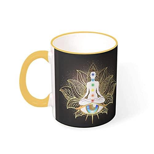 N\A Taza de Ojo de Loto de Yoga con Estampado Personalizado, Taza de té de Porcelana, Regalo para la Familia