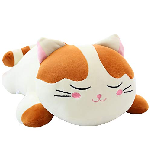 """Cat Big Plush Hugging Pillow, Super Soft Kitten Kitty Stuffed Animals Toy Gifts for Kids, Girls, Bed, Christmas, Valentine 21.7"""" (Brown)"""