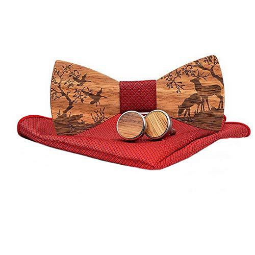 Ukerdo Herren Handgemacht Holz Manschettenknopf Christmas Elch Muster Fliege Schleife Spiel Einstecktücher Set für Geschenk - Rot