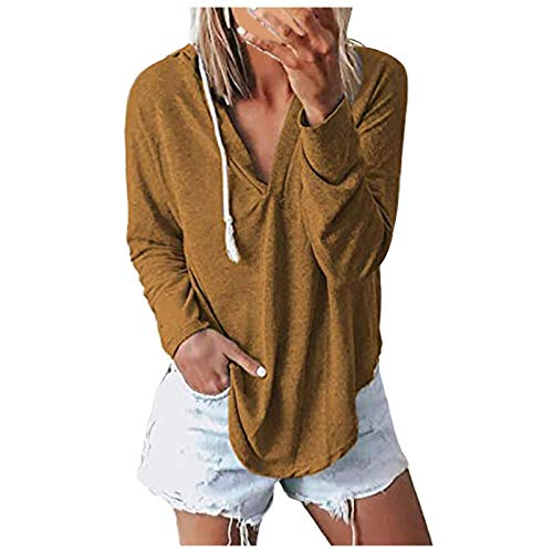 Check Out This ThsiJJ Women's Sweatshirt Women's Deep V Neck Hoodie Long Sleeves Pullover Solid Colo...