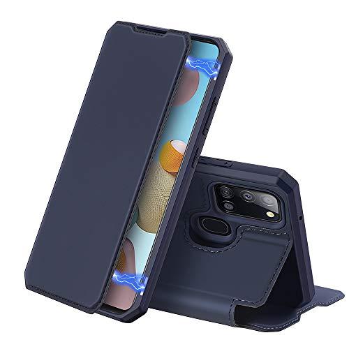DUX DUCIS Cover per Samsung Galaxy A21s, Pelle Premium Magnetica Flip Custodia Compatible per Samsung Galaxy A21s (Blu)