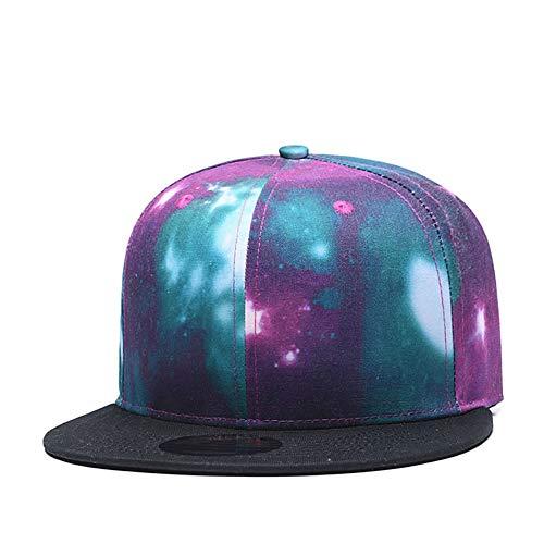 Quanhaigou Galaxy Snapback Dad Hat,Green Purple Unisex Flat Bill Baseball Cap,Space Stars Hats
