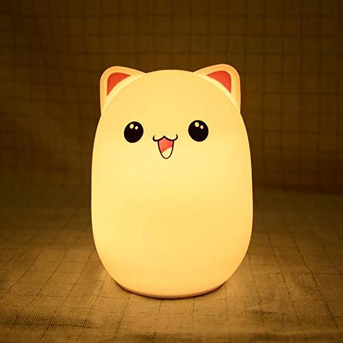 LED Nachtlicht/Kinder Nachtlicht mit Fernbedienung USB wiederaufladbare Silikon mehrfarbige Nachttischlampe für Schlafzimmer geeignet (B, klopfen)