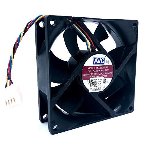 Yongenee Para AVC 8025 80mm x 80 mm x 25 mm DL08025R12U Rodamiento hidráulico PWM refrigerador Fan de enfriamiento 12V 0.50A 4Wire Conector 4pin (Blade Color : DS08025R12U New)
