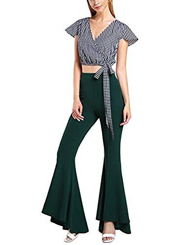 Mujeres Pantalones Largos Color Sólido Cintura Alta Cóctel Entallado Pantalones de Campana Tamaño Grande Elástica Pantalón Ejercito Verde S