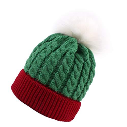 TOYANDONA Weihnachtsstrickmütze für Kinder Mädchen Jungen Warmes Wintergrün + Rot