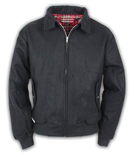 Harrington Jacke mit Wolle Englisch Style Herren Winterjacke XXL,Schwarz