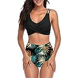 TMEOG Traje de Baño de Dos Piezas para Mujer Sexy de Cintura Alta con Estampado Halter Traje de Baño Playa Traje de Baño Bikini Set (A- Negro, L)