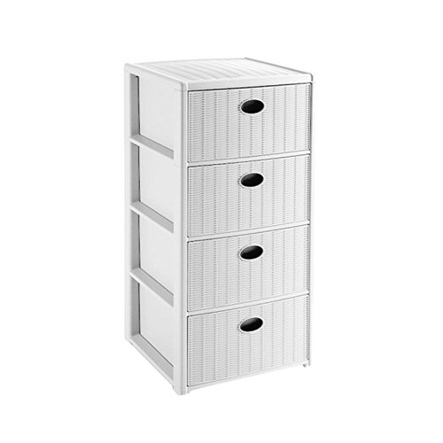 Stefanplast Elegance Drawers Unit, White, 40 x 40 x 80 cm