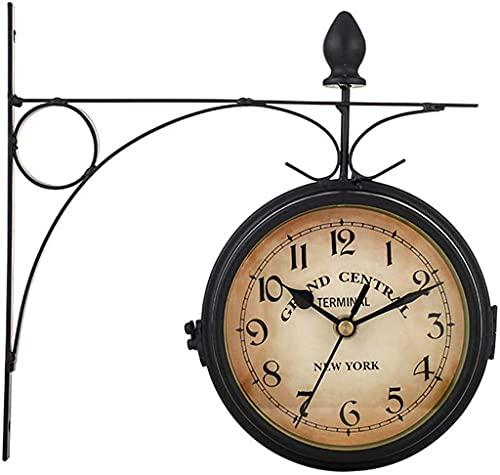 Reloj De Pared para Jardín Al Aire Libre, Reloj De Pared De Doble Cara Exterior Antiguo Retro Interior, Números Arábigos Muestran Movimiento Silencioso para La Decoración del Hogar