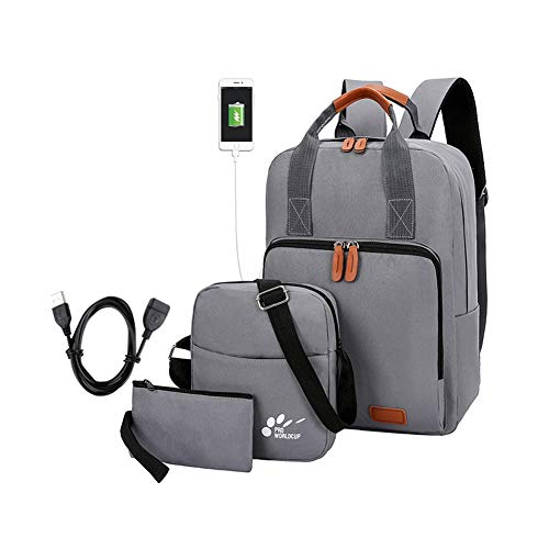Laptop Backpack, Men School Bags with USB Charging Port and Pencil Case and Shoulder Bag, Lightweight Laptop Waterproof Business Backpack Set 3 in 1