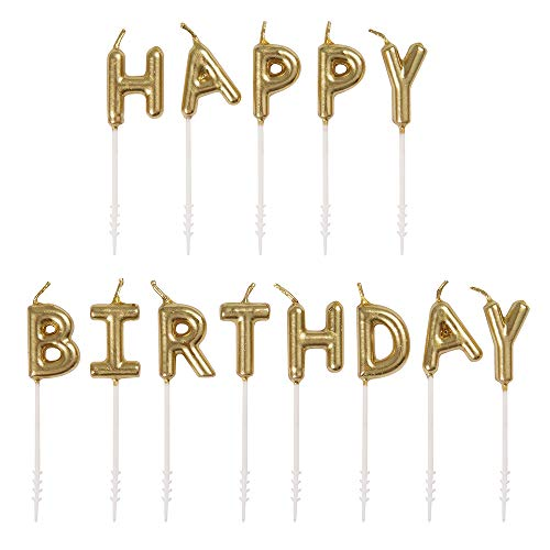 Unique Party 19995 Gold Happy Letter Pick Birthday Candles, Set of 13
