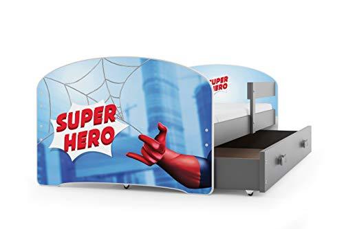 Kinderbett LUKI, Farbe: Grau 160x80cm, mit Matratze, Lattenrost und Schublade (SPIDERMAN)