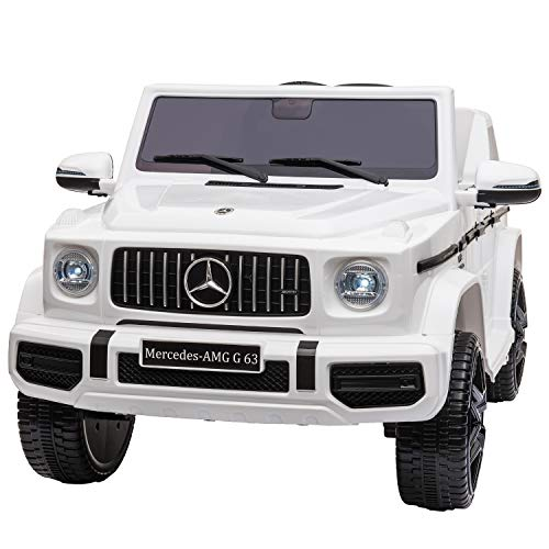 TOBBI 12V Licensed Mercedes-Benz AMG G63 Kids Ride On Cars Toys with Remote Control,Spring Suspension System,Openable Doors,Music,LED Lights(White)