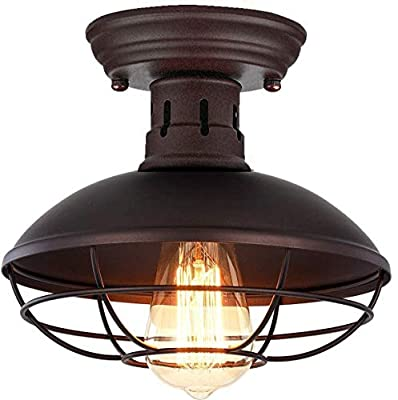 Retro Barn Ceiling Light-Easric Vintage Industrial Wrought Iron Material Decoration Fixture Cage Cover Rustic Semi Flush Mounted Pendant Lighting Dome/Bowl Shaped Lamp for Kitchen Aisle Porch -Copper