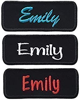 Custom Name Patch Embroidered Personalized Tag *Black* Choose Font and Thread Color - Iron Or Sew On (1 Patch)