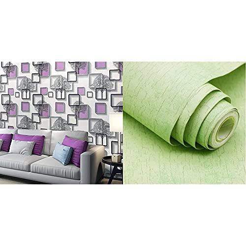Amazon Brand - Solimo PVC Self-Adhesive Wallpaper, Winter Trees, 45 x 500 cm & Amazon Brand - Solimo PVC Self-Adhesive Wallpaper, Fine Green, 60cm x 3m