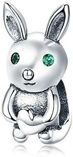 Abalorio de conejo de plata de ley 925, compatible con pulseras y collares Pandora
