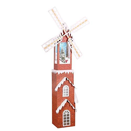SSBH 180cm Noël Moulin à Vent Tower House Décorations, Moulin à Vent Neige Musique, éclairage Tour extérieur Cour Décor Mall Hôtel Bar Hôtel Festival Set Fournitures Props
