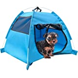 KUDES Cat Dog Tent House, Breathable Small Medium Pets Puppy Kennel Folding Dog Cat Bed Pad Cage for Indoor Outdoor - Pop Up Dog Cat Tent Traveling Camping Beach Sun Shelter (Blue)